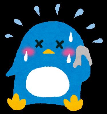 汗をかいているペンギン
