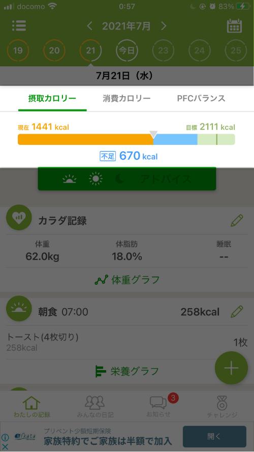 あすけん使い方(トータル摂取カロリー)